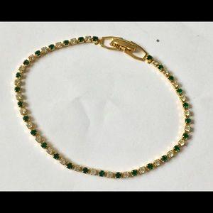 Vintage emerald green rhinestone dainty bracelet